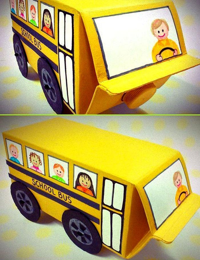 Làm ô tô từ hộp sữa giấy